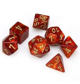 Chessex Polyhedral 7 Dice Set Scarab Scarlet w/Gold CHX27414