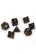 Chessex Polyhedral 7 Dice Set Opaque Black w/Gold CHX25428