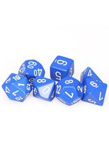 Chessex Polyhedral 7 Dice Set Opaque Medium Blue w/White CHX25406