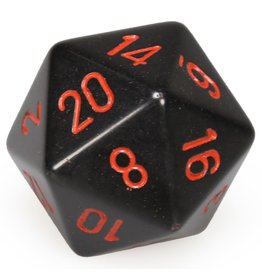 Chessex d20 34mm Dice Opaque Black w/Red