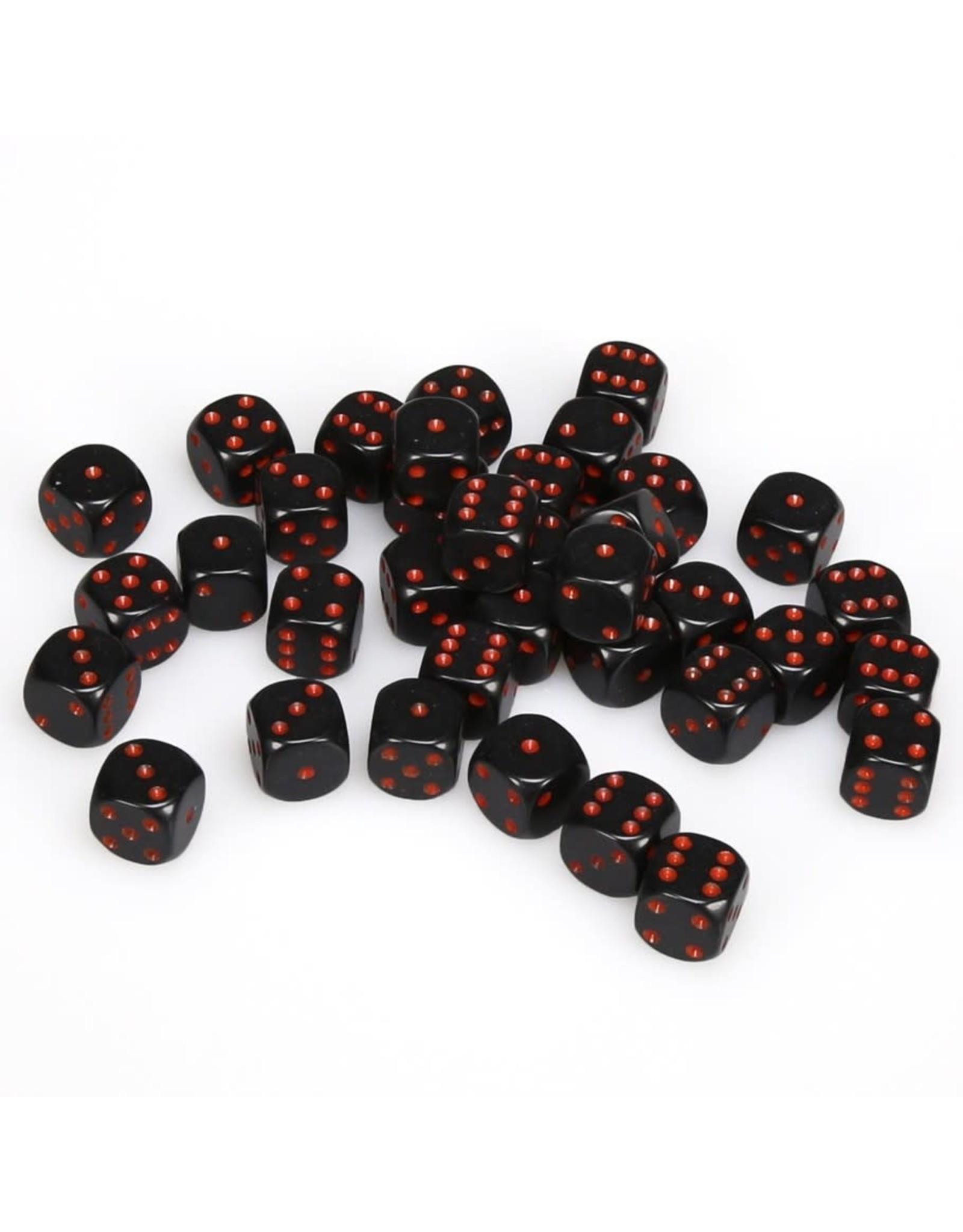 Chessex d6 12mm 36 Dice Set Opaque Black w/Red CHX25818