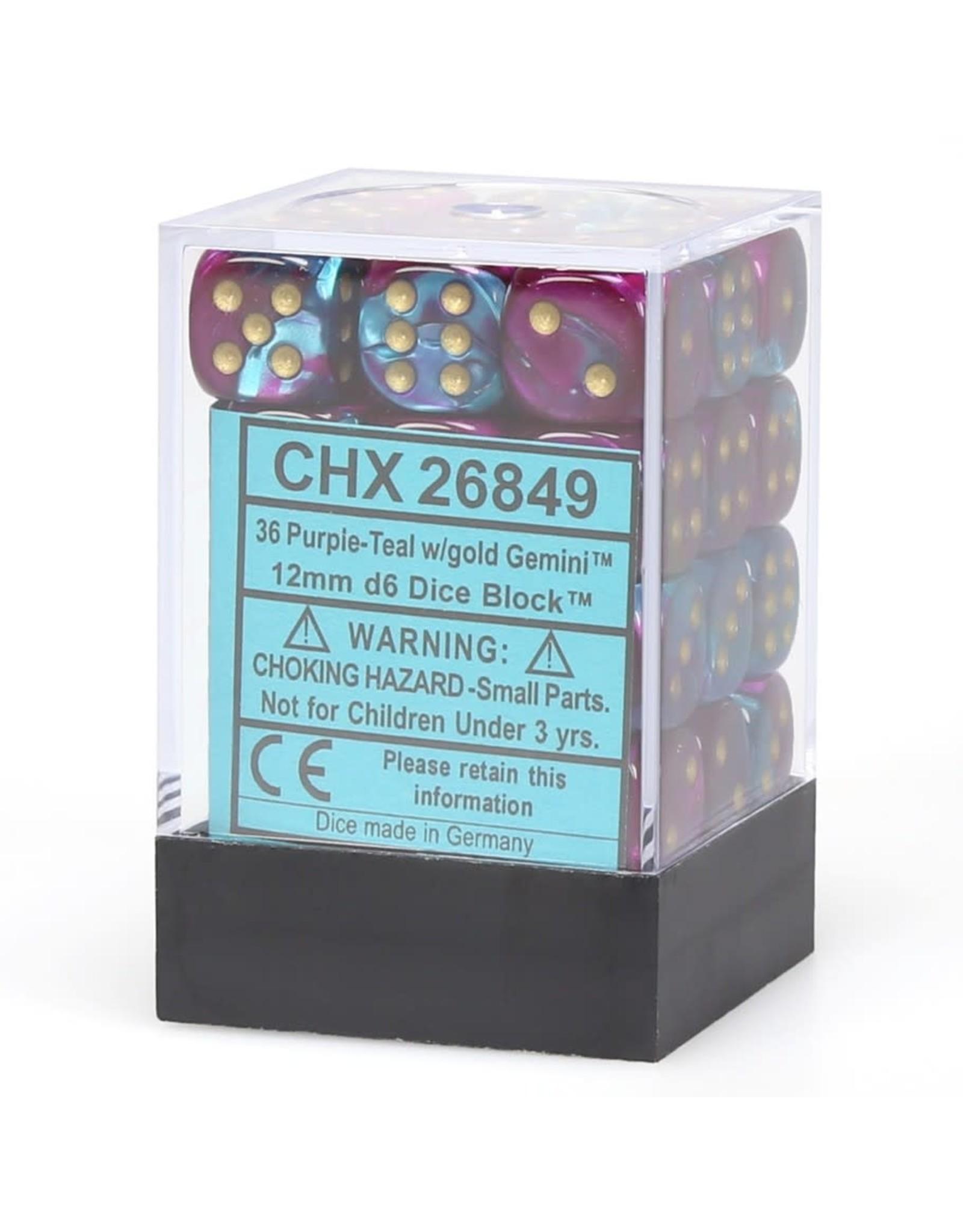 Chessex d6 12mm 36 Dice Set Gemini Purple-Teal w/Gold CHX26849