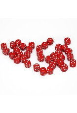 Chessex d6 12mm 36 Dice Set Opaque Red w/White CHX25804