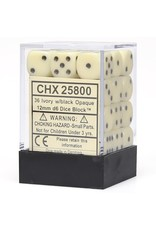 Chessex d6 12mm 36 Dice Set Opaque Ivory w/Black CHX25800
