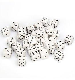 Chessex d6 12mm 36 Dice Set Opaque White w/Black CHX25801