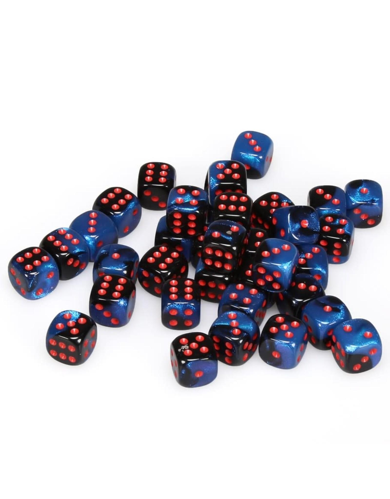 Chessex d6 12mm 36 Dice Set Gemini Black-Starlight w/Red CHX26858