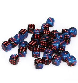 Chessex d6 12mm 36 Dice Set Gemini Black-Starlight w/Red CHX26858