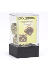 Chessex d6 16mm 2 Dice Set Gold Plated CHX29006