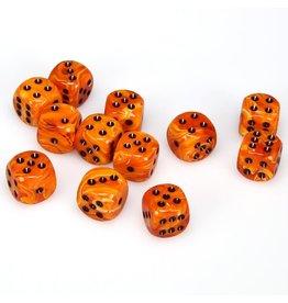 Chessex d6 16mm 12 Dice Set Vortex Orange w/Black CHX27633