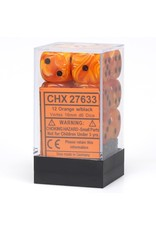 Chessex d6 16mm 12 Dice Set Vortex Orange w/Black CHX27633