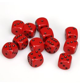 Chessex d6 16mm 12 Dice Set Opaque Red w/Black CHX25614