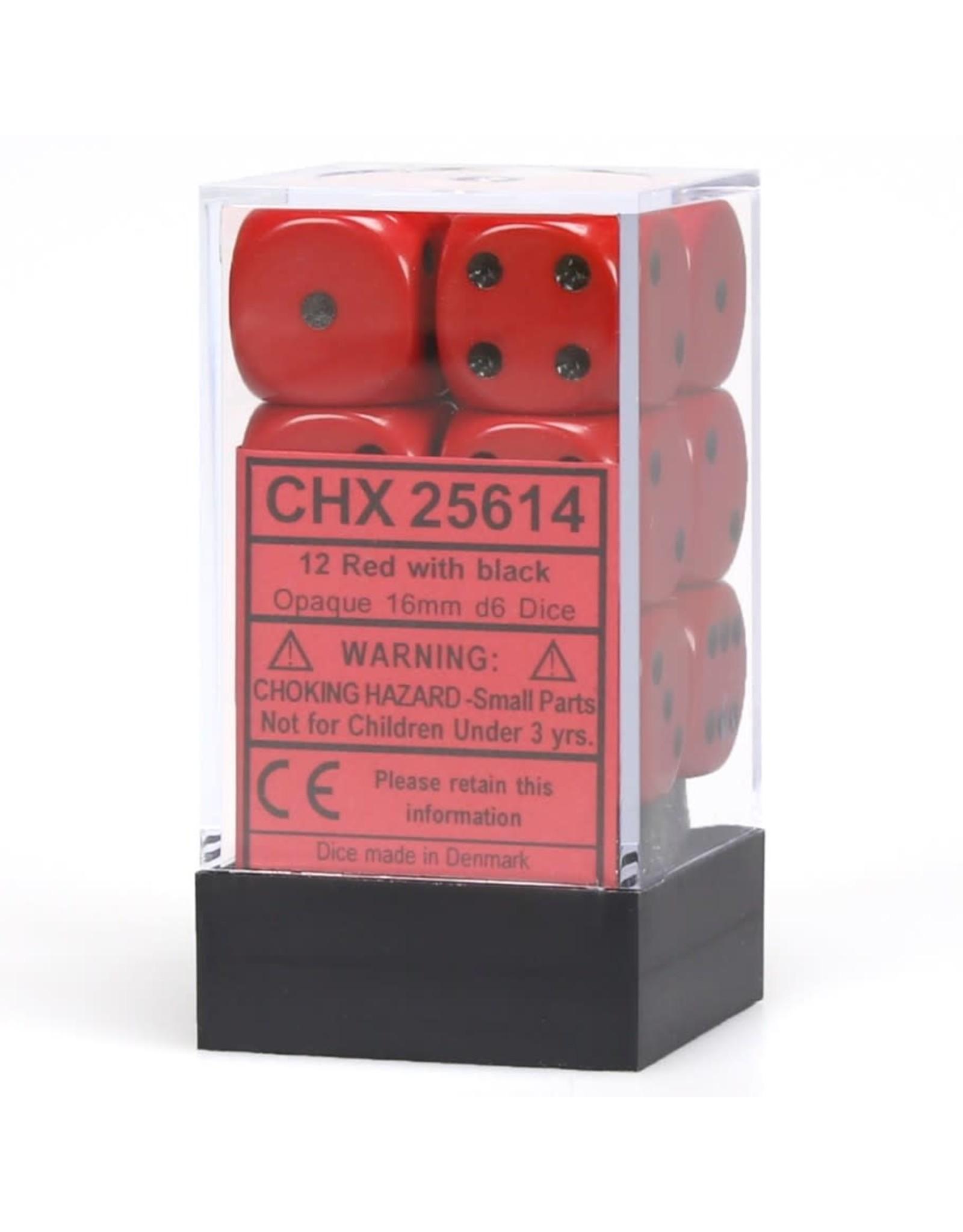 Chessex d6 16mm 12 Dice Set Opaque Red w/Black CHX25614