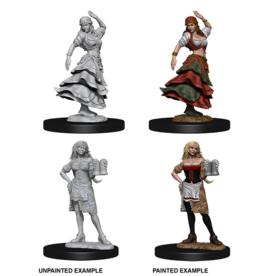 Wizkids Bartender/Dancing Girl: PF Deep Cuts Unpainted Miniatures