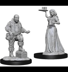 Wizkids PF Deep Cuts Unpainted Miniatures: Merchants (Serving Girl/Merchant)