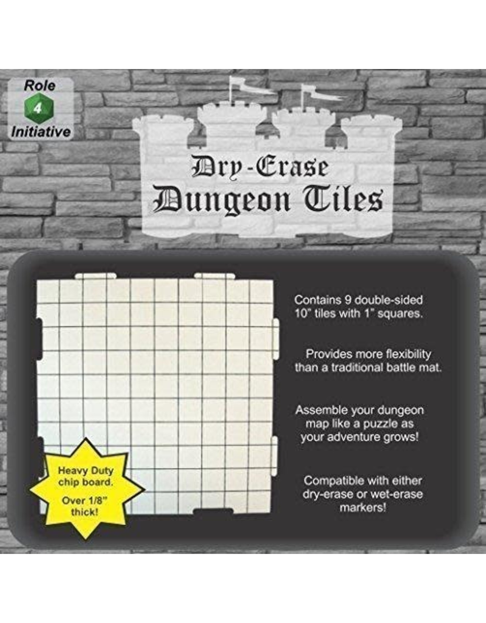 Role 4 Initiative Dry Erase Dungeon Tiles - 10 inch Interlocking Tiles 9 pack