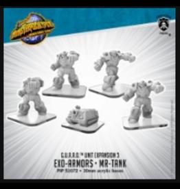 Privateer Press MonPoc Exo-Armors & MR-Tank – Monsterpocalypse G.U.A.R.D. Units