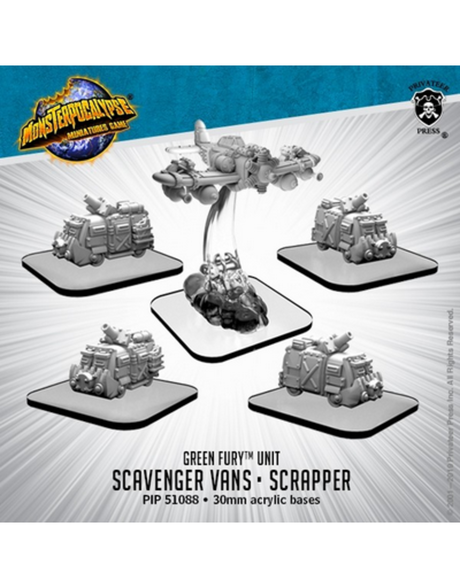 Privateer Press Scavenger Vans and Scrapper – Monsterpocalypse Green Fury Unit (metal)