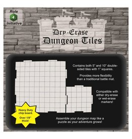 Role 4 Initiative Dry Erase Dungeon Tiles - Combo pack 4x10 inch and 16x5 inch Interlocking Tiles