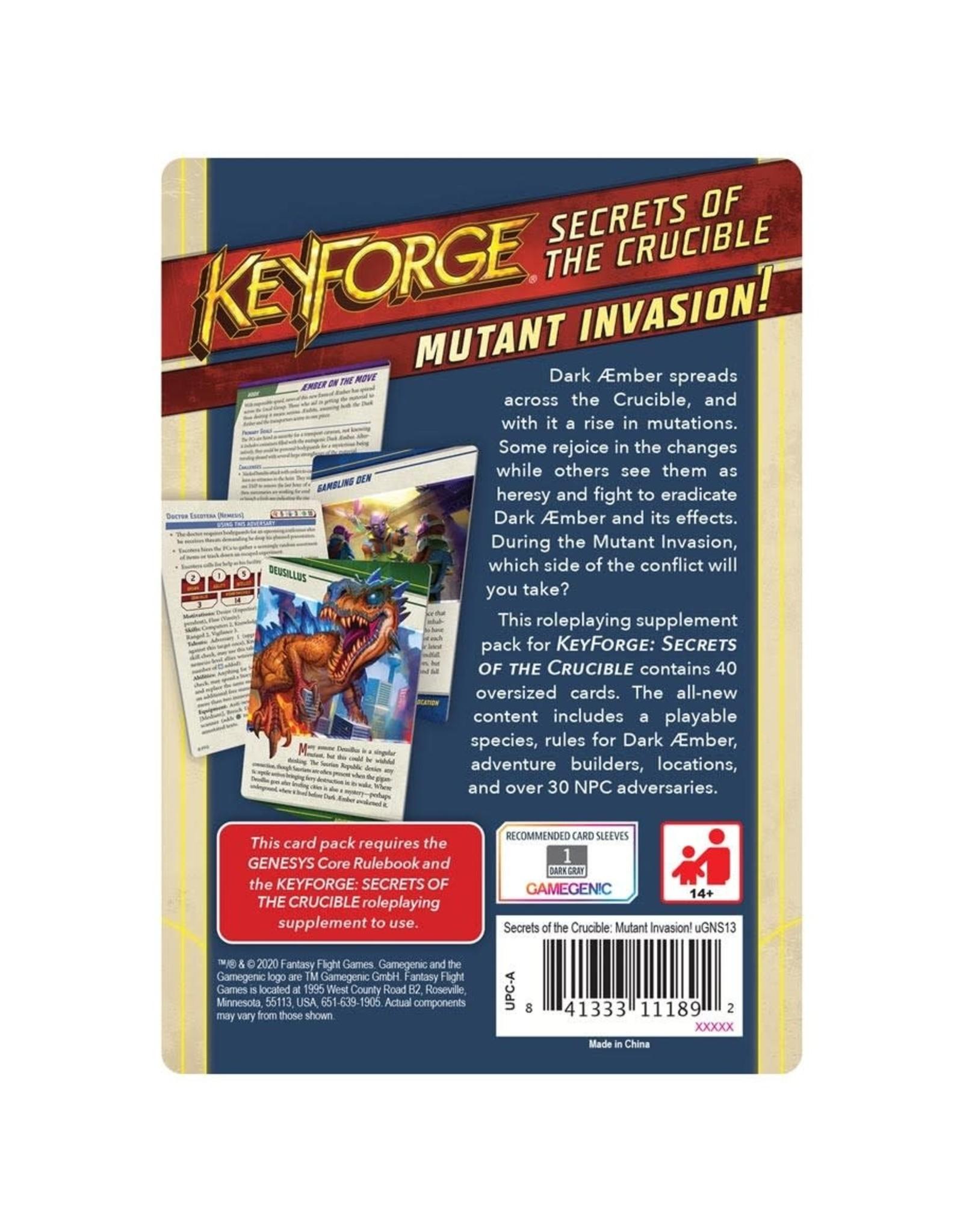 Fantasy Flight Games Genesys Keyforge RPG: Secrets of the Crucible - Mutant Invasion!