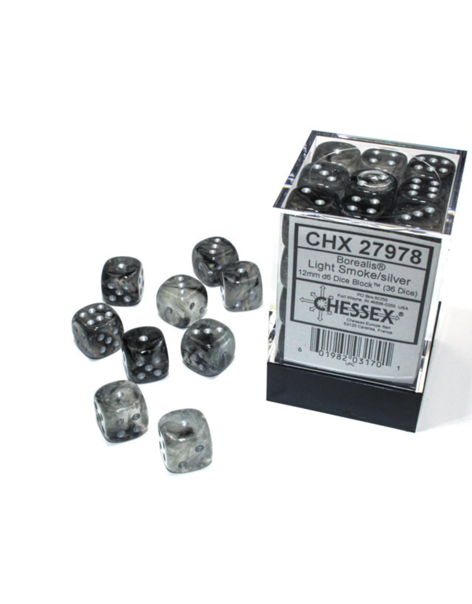 Chessex Borealis: 12mm d6 Light Smoke/silver Luminary Dice Block (36 dice) CHX27978