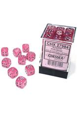 Chessex Borealis: 12mm d6 Pink/silver Luminary Dice Block (36 dice) CHXDB1284