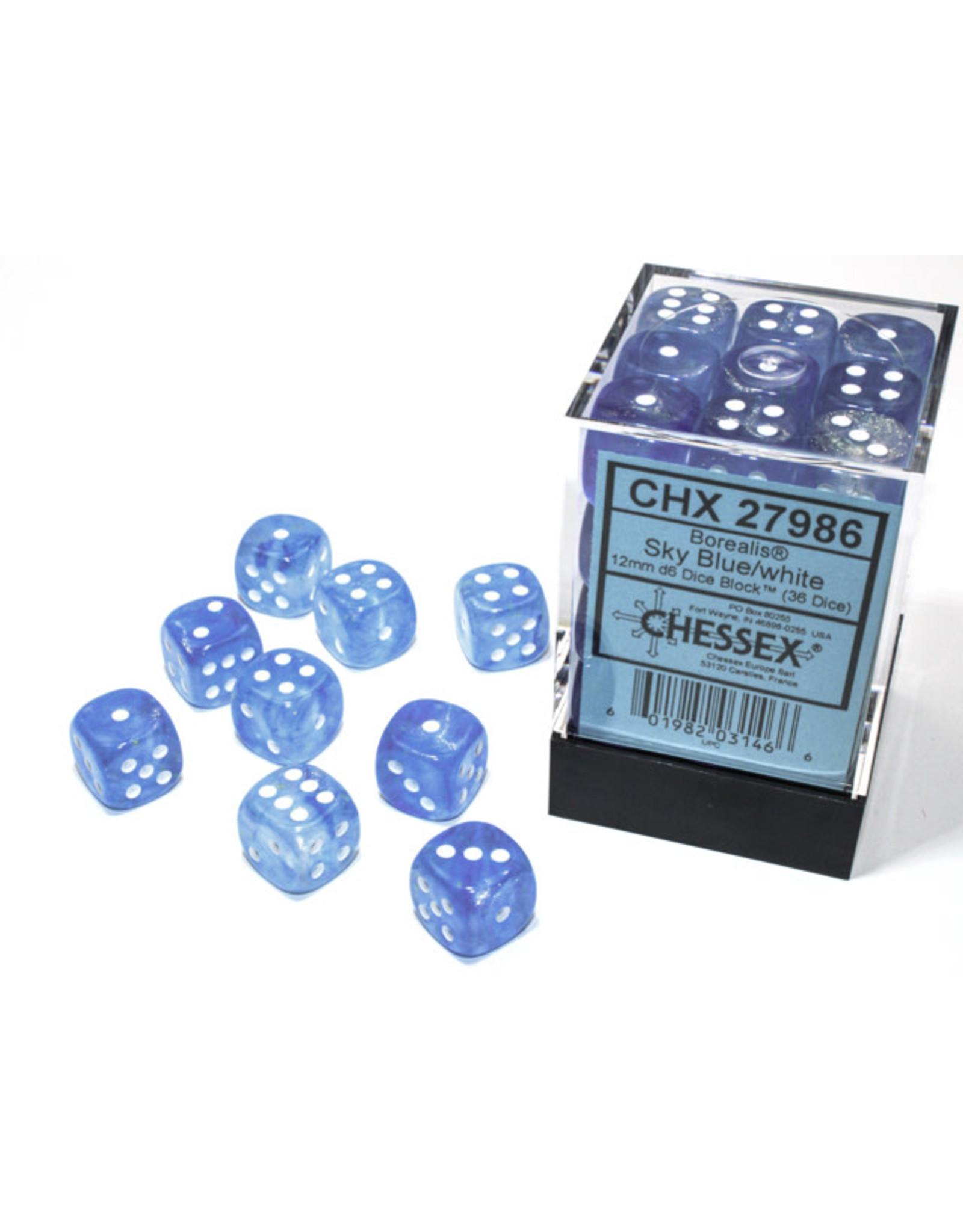 Chessex Borealis: 12mm d6 Sky Blue/white Luminary Dice Block (36 dice) CHX 27986