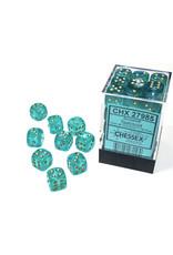 Chessex Borealis: 12mm d6 Teal/gold Luminary Dice Block (36 dice) CHX 27985