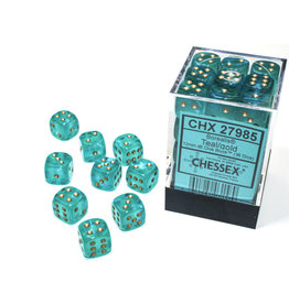 Chessex Borealis: 12mm d6 Teal/gold Luminary Dice Block (36 dice) CHX 27985