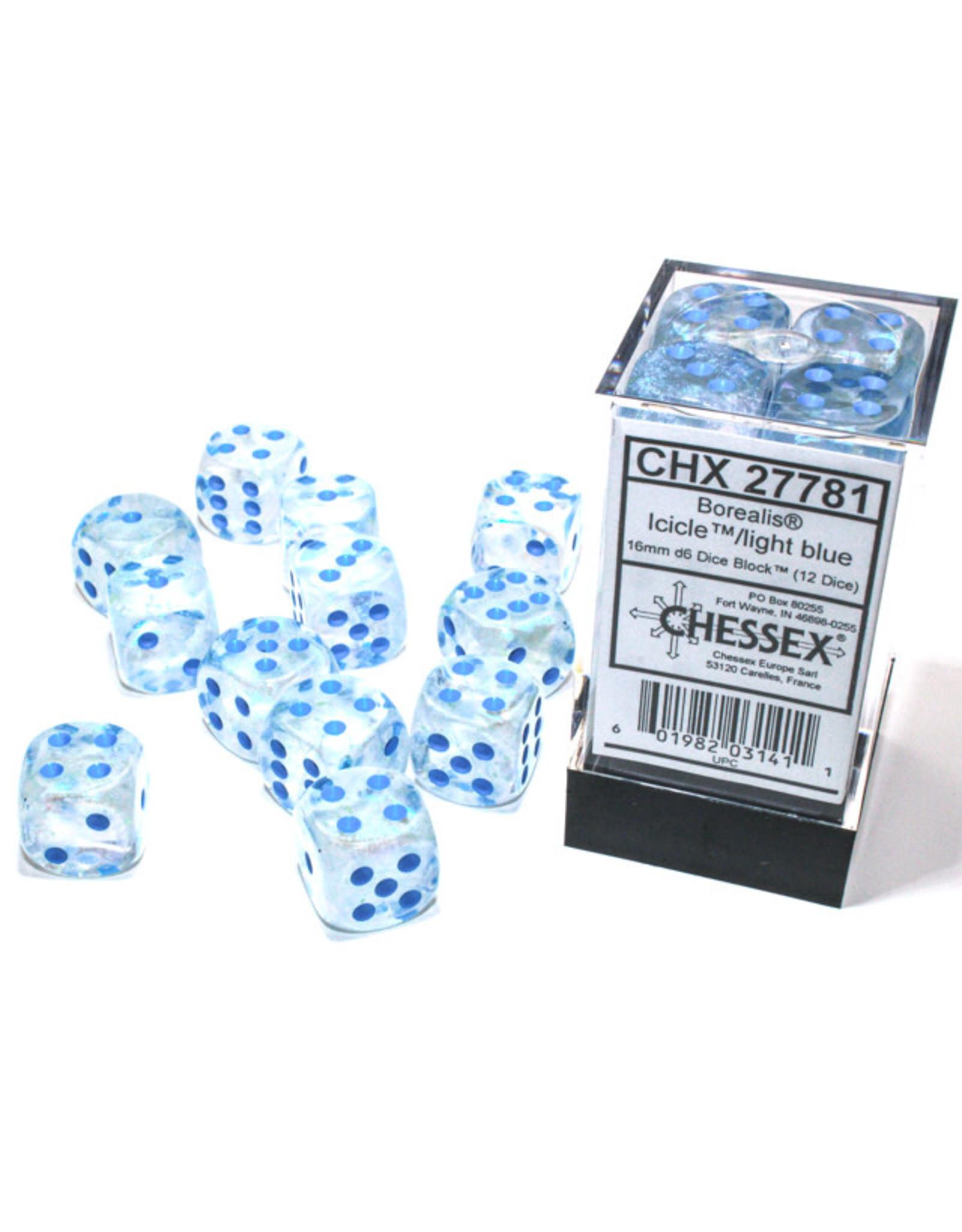 Chessex Borealis: 16mm d6 Icicle/light blue Luminary Dice Block (12 dice) CHX 27781