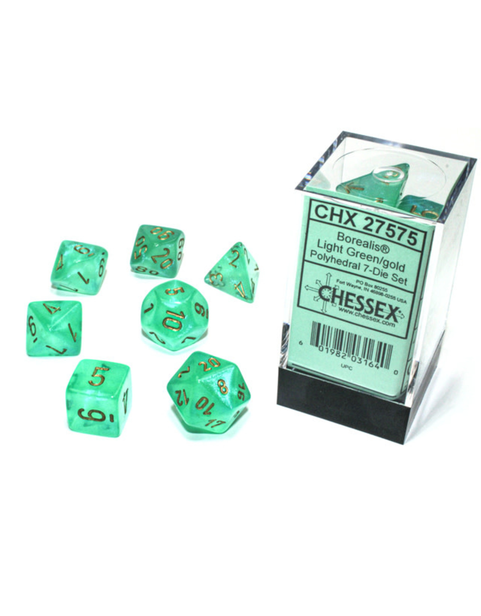 Chessex Borealis: Polyhedral Light Green/gold Luminary 7-Die Set CHX 27575