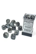 Chessex Borealis: 16mm d6 Light Smoke/silver Luminary Dice Block (12 dice) CHX 27778