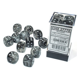 Chessex Borealis: 16mm d6 Light Smoke/silver Luminary Dice Block (12 dice) CHX 27778