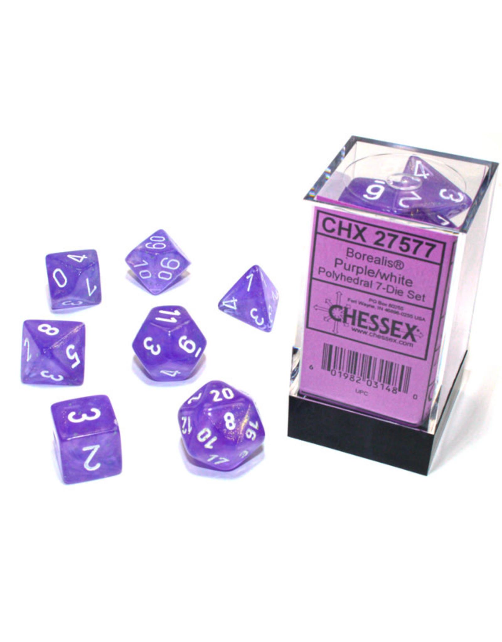 Chessex Borealis: Polyhedral Purple/white Luminary 7-Die Set CHX 27577