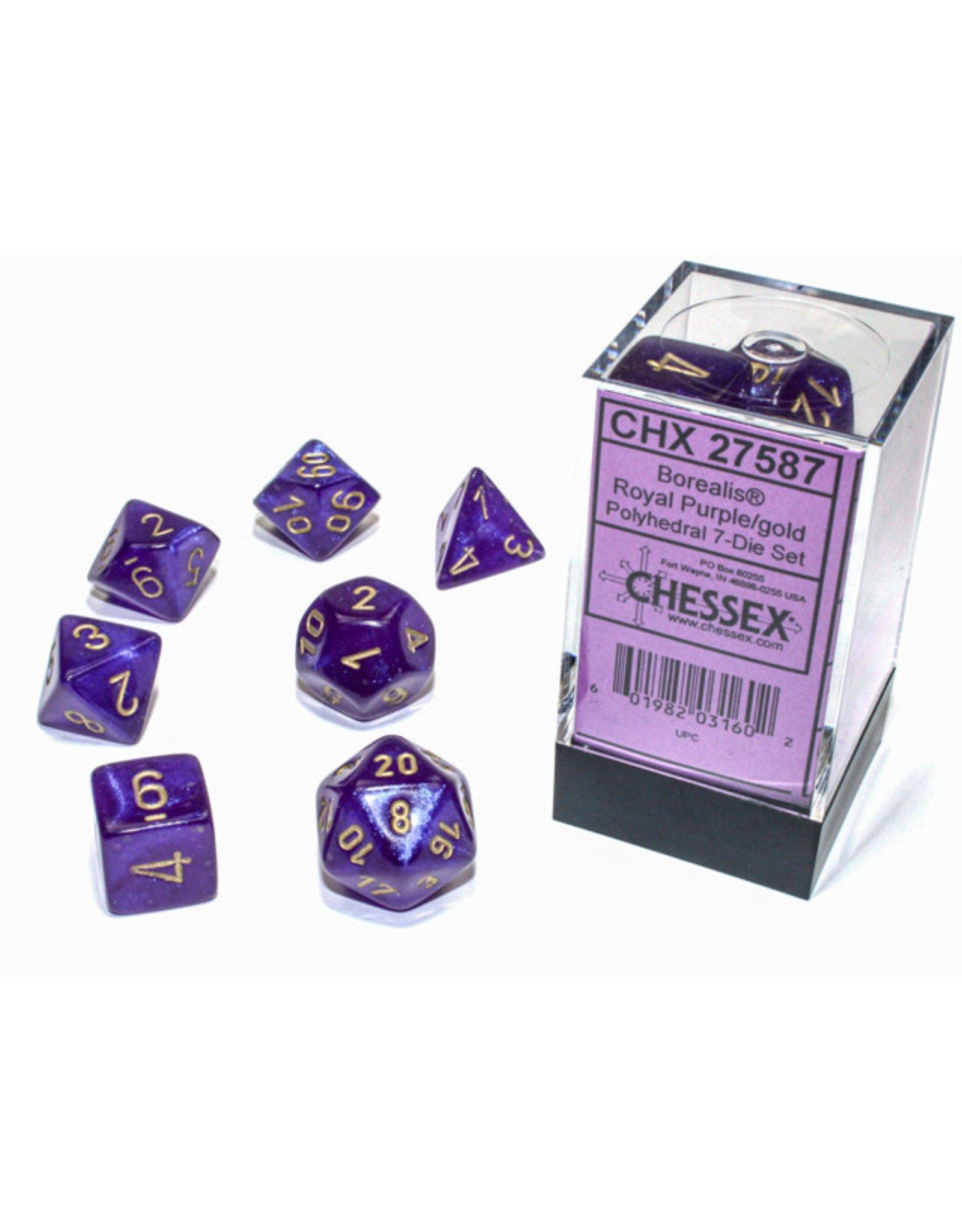 Chessex Borealis: Polyhedral Royal Purple/gold Luminary 7-Die Set CHX27587