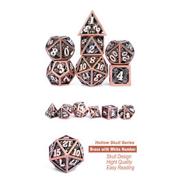 Hollow Dice Set (7pcs) Skull Copper & White