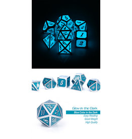 Metal & Enamel Dice Set (7pcs) Blue Glow in the Dark