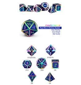 Metal & Enamel Dice Set (7pcs) Blue Iridescence