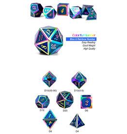 Metal & Enamel Dice Set (7pcs) Aquamarine Iridescence