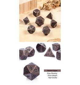 Metal & Enamel Dice Set (7pcs) Crude Copper