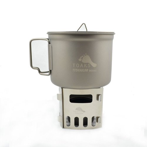 Toaks Titanium TOAKS TITANIUM COOK SYSTEM WITH 900ML POT & SIPHON ALCOHOL STOVE WITH 4-PIECES ASSEMBLED POT STAND