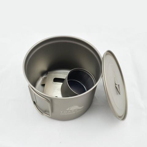 Toaks Titanium TOAKS TITANIUM COOK SYSTEM WITH 900ML POT & SIPHON ALCOHOL STOVE WITH 4-PIECES ASSEMBLED POT STAND