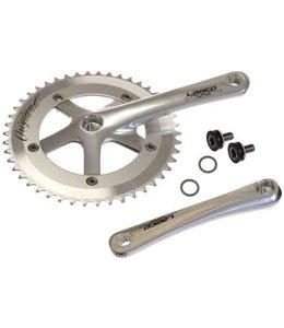 Lasco Lasco Single Speed Crank Set 170mm Alloy Polish Silver