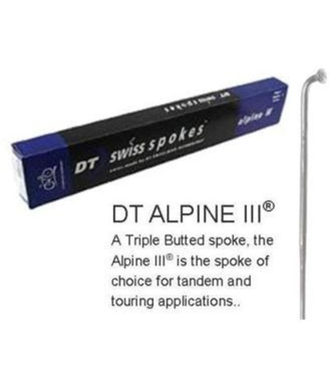 DT Swiss DT Spoke Alpine 3 Triple Butted J Bend Stainless Silver 288mm