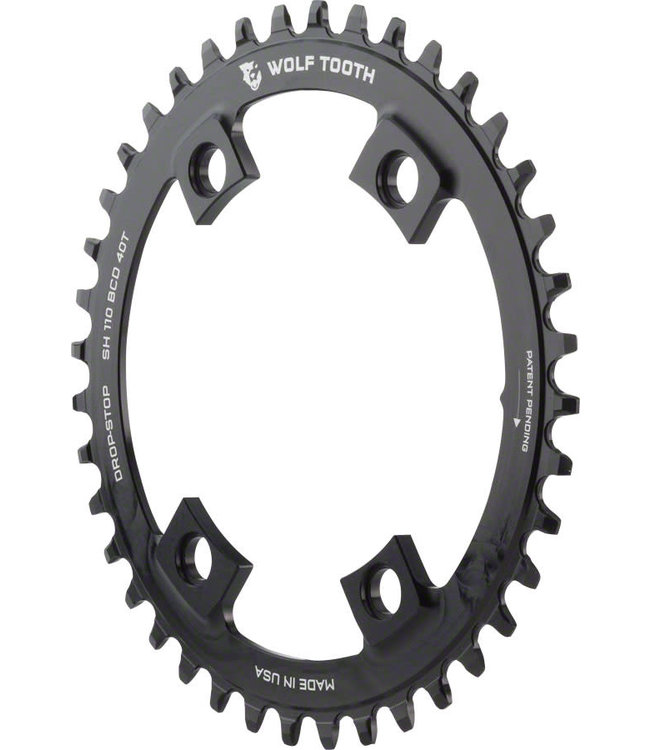 Wolf Tooth Wolf Tooth Drop-Stop Chainring 110 BCD Asymmetric 4 Bolt Shimano 42T Blk