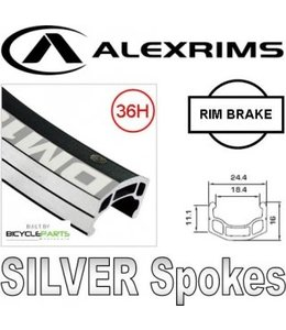 BPW Wheel Rear 700c ALex DM 18 Screw on 36H Black Silver Spokes
