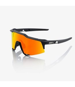 100% 100% Sunglasses Speedcraft Soft Tact Black Hiper Red Multilayer Mirror lens