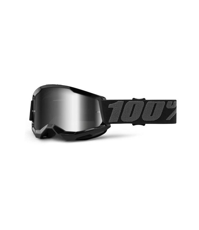 100% 100% Strata 2 Goggle Black - Mirror Silver Lens