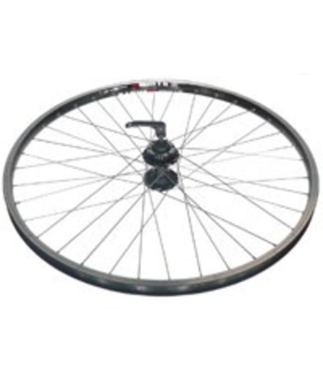 Alex Alex Wheel Front Disc DM18 Eyeleted MSW 36h 6 Bolt Disc Black Hub Silver Spokes