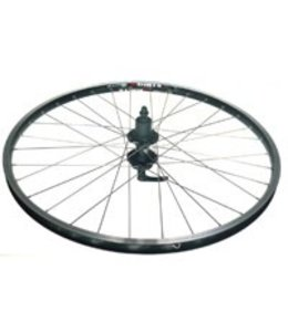 "Alex Wheel 26"" Rear DM 18 Black Eyeleted Rim 36h Black Hub Silver Spokes"