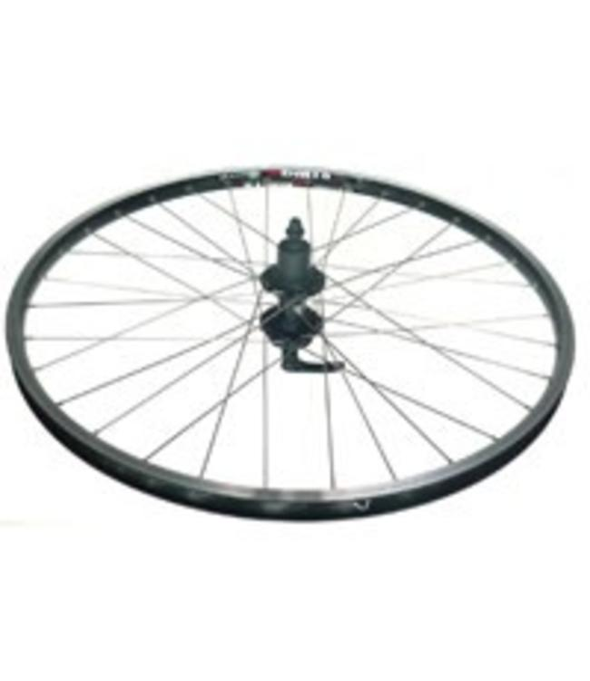 "Alex Wheel 26"" Rear DM 18 Black Eyeleted Rim 36h Black Hub Silver Spokes"